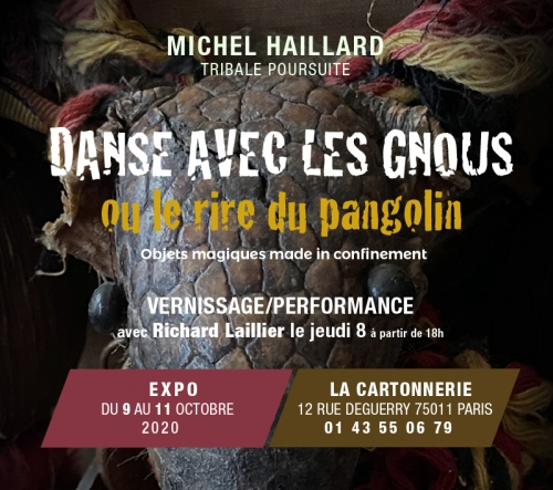 michel haillard,confinement,baroque,tribal,design,performance,vernissage,paris,la cartonnerie,pangolin